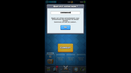Enter your name screenshot of Clash Royale video game interface.