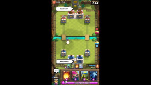 Game screenshot of Clash Royale video game interface.