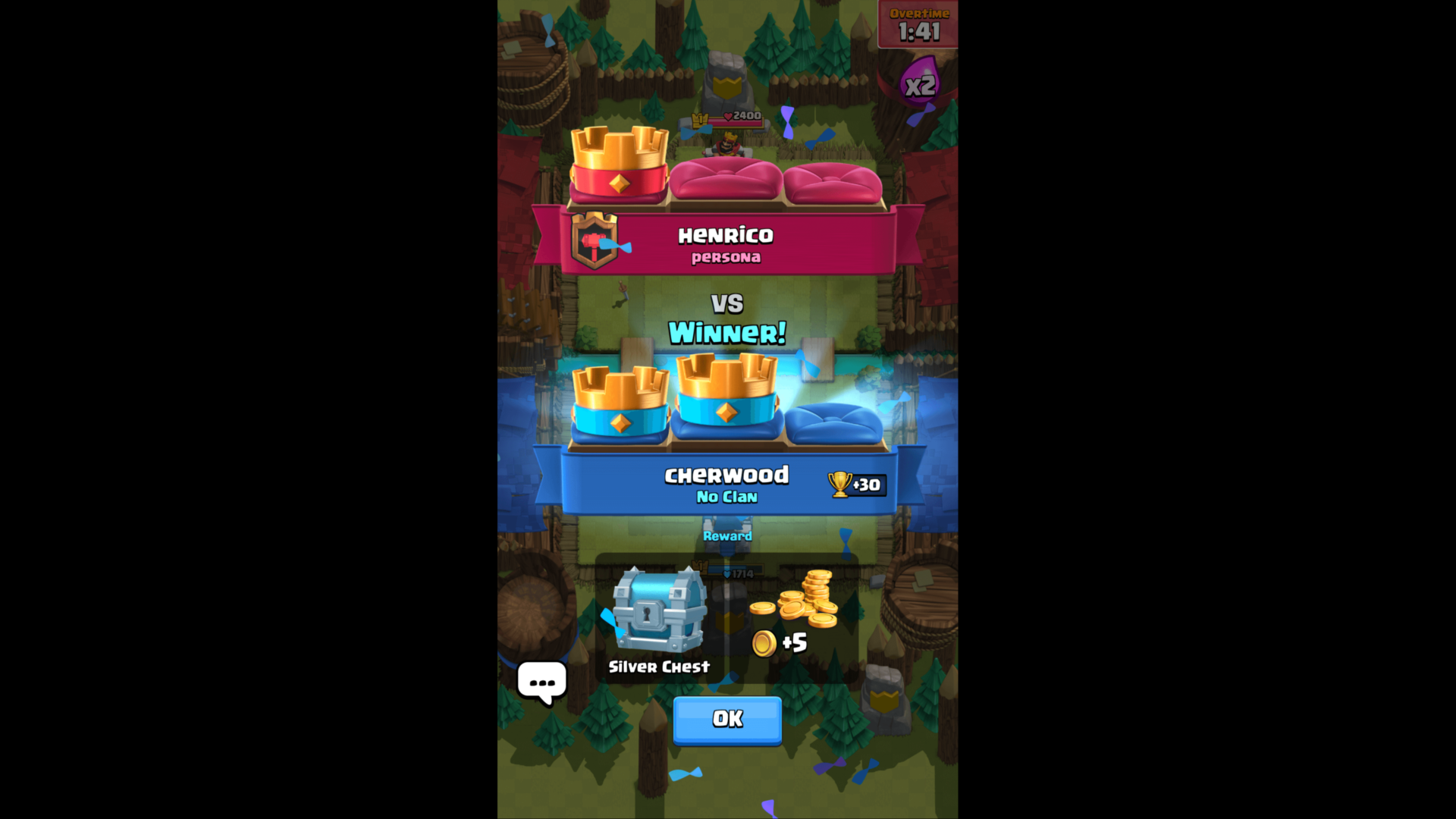 Game summary screenshot of Clash Royale video game interface.