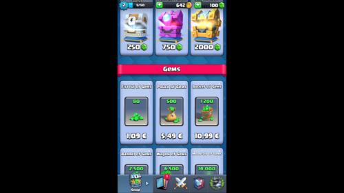 Gems screenshot of Clash Royale video game interface.