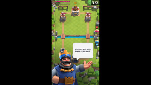 Introduction screenshot of Clash Royale video game interface.