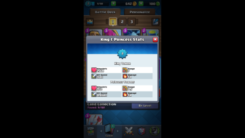 King and Princess Stats screenshot of Clash Royale video game interface.