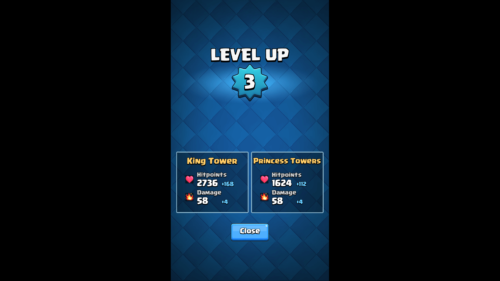 Level up screenshot of Clash Royale video game interface.