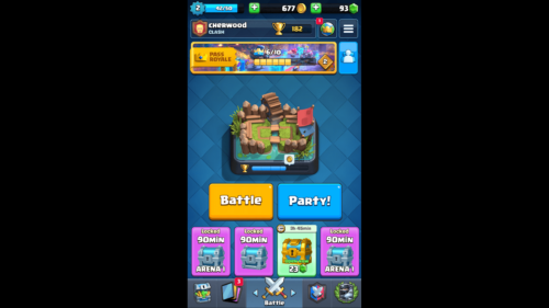 Main menu screenshot of Clash Royale video game interface.