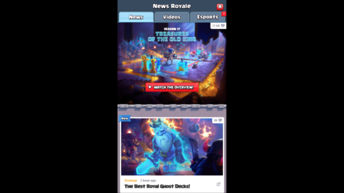 News Royale screenshot of Clash Royale video game interface.