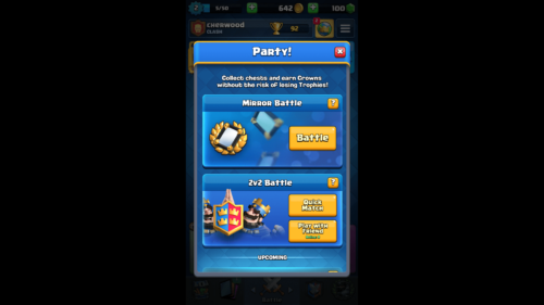 Party screenshot of Clash Royale video game interface.