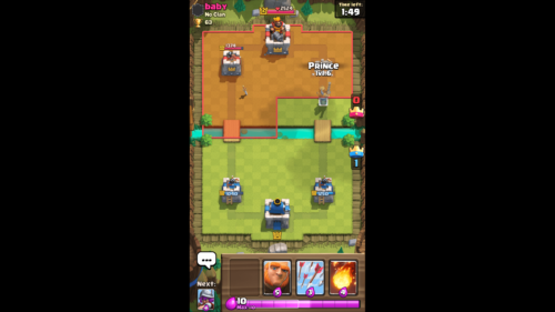 Play card screenshot of Clash Royale video game interface.