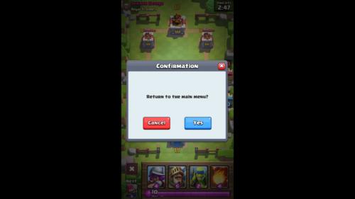 Return to the Main Menu screenshot of Clash Royale video game interface.