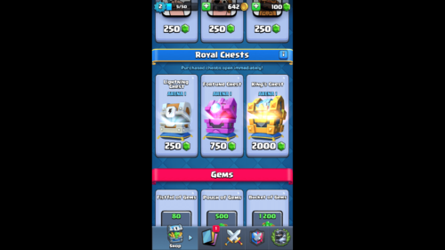 Royal Chests screenshot of Clash Royale video game interface.