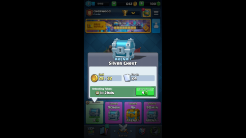 Silver Chest screenshot of Clash Royale video game interface.