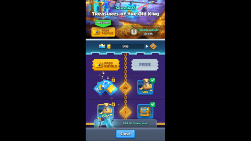 Treasures of the Old King screenshot of Clash Royale video game interface.