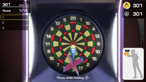 Dart Game screenshot of Clubhouse Games: 51 Worldwide Classics video game interface.