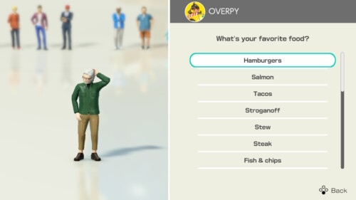 Food Selection screenshot of Clubhouse Games: 51 Worldwide Classics video game interface.