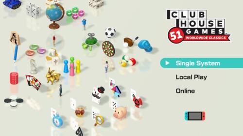 Main Menu screenshot of Clubhouse Games: 51 Worldwide Classics video game interface.