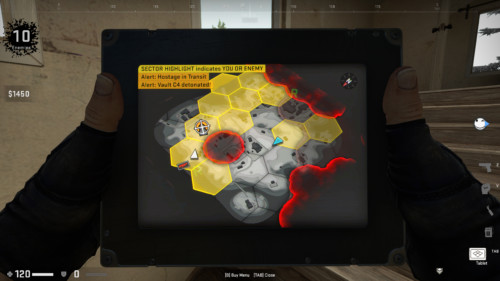 Battle royale map screenshot of Counter-Strike: Global Offensive video game interface.