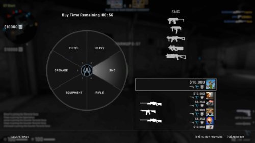 Buy menu screenshot of Counter-Strike: Global Offensive video game interface.