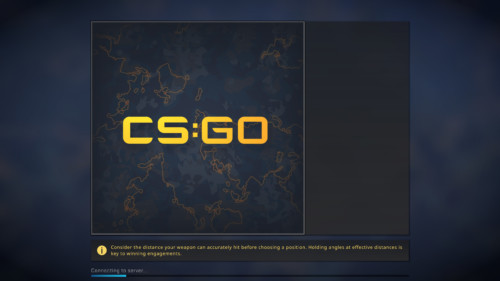 Connecting to server screenshot of Counter-Strike: Global Offensive video game interface.