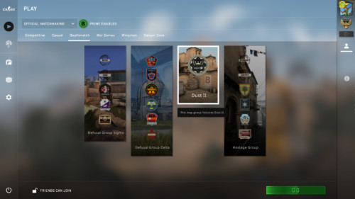 Deathmatch map screenshot of Counter-Strike: Global Offensive video game interface.