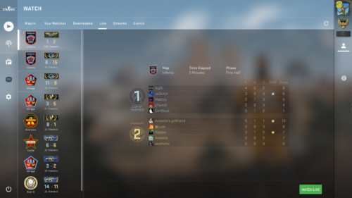 Live match screenshot of Counter-Strike: Global Offensive video game interface.