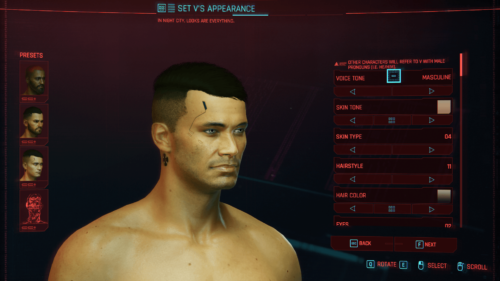 Appearance screenshot of Cyberpunk 2077 video game interface.