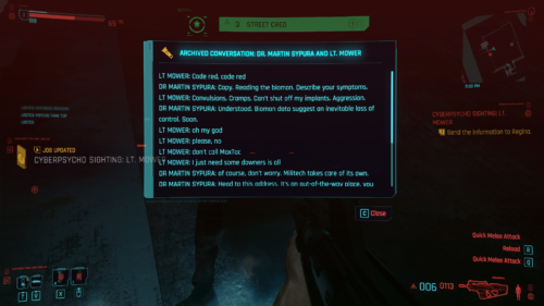 Archived conversation screenshot of Cyberpunk 2077 video game interface.