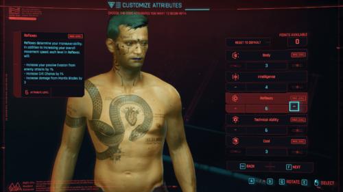 Attributes screenshot of Cyberpunk 2077 video game interface.