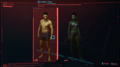 Body type screenshot of Cyberpunk 2077 video game interface.