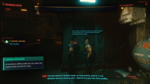 Braindance editor screenshot of Cyberpunk 2077 video game interface.