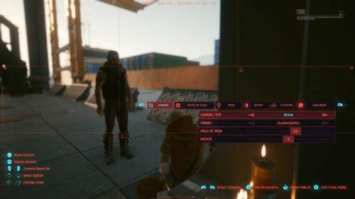 Camera screenshot of Cyberpunk 2077 video game interface.