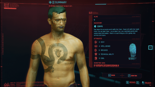 Character data screenshot of Cyberpunk 2077 video game interface.