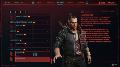 Character database screenshot of Cyberpunk 2077 video game interface.
