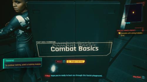 Combat basics screenshot of Cyberpunk 2077 video game interface.