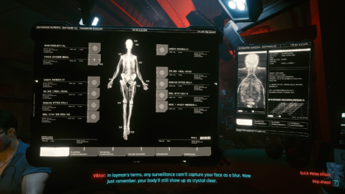 Computed tomography screenshot of Cyberpunk 2077 video game interface.
