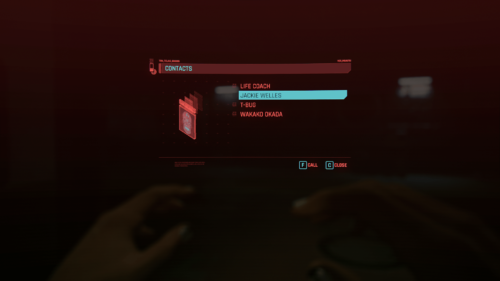 Contacts screenshot of Cyberpunk 2077 video game interface.