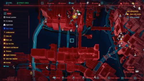 Filter screenshot of Cyberpunk 2077 video game interface.