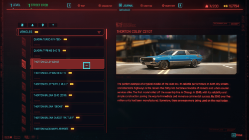 Vehicles database screenshot of Cyberpunk 2077 video game interface.