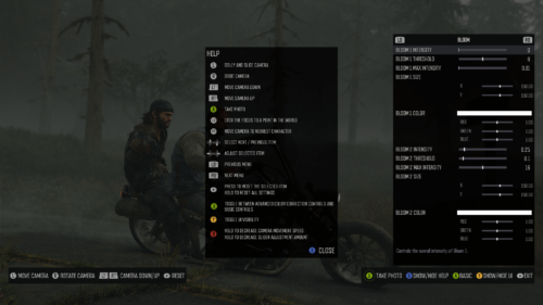 Photo Mode screenshot of Days Gone video game interface.