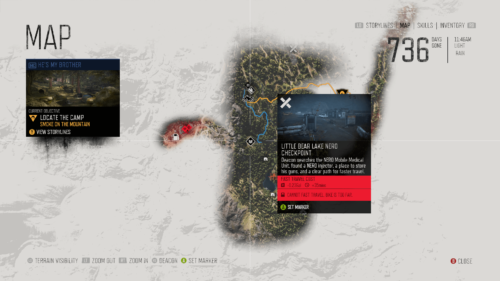 Map screenshot of Days Gone video game interface.