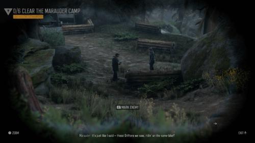 Binocular screenshot of Days Gone video game interface.