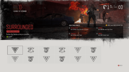 Challenges screenshot of Days Gone video game interface.