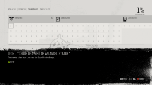 Collectibles screenshot of Days Gone video game interface.