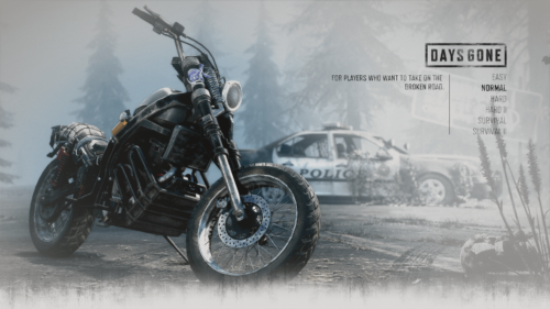 Difficulty screenshot of Days Gone video game interface.