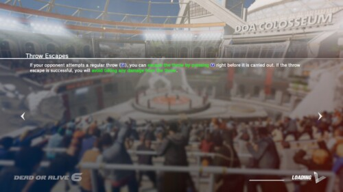 Loading screenshot of Dead or Alive 6 video game interface.