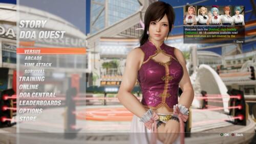 Main Menu screenshot of Dead or Alive 6 video game interface.