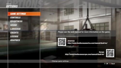 Options screenshot of Dead or Alive 6 video game interface.