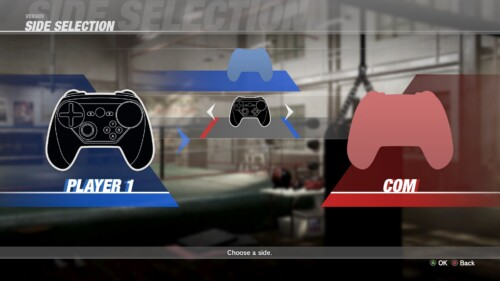 Side Select screenshot of Dead or Alive 6 video game interface.
