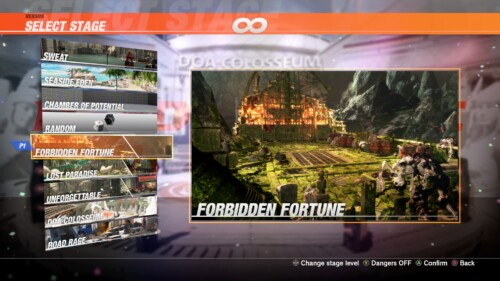 Stage Select screenshot of Dead or Alive 6 video game interface.
