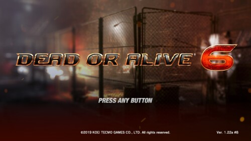 Start Screen screenshot of Dead or Alive 6 video game interface.