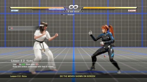 Tutorial screenshot of Dead or Alive 6 video game interface.