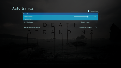 Audio Settings screenshot of Death Stranding video game interface.